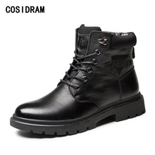 COSIDRAM Warm Winter Shoes Men Boots Genuine Leather Ankle Motorcycle Boots With Fur High Top Men Shoes Plush Fashion RMC-075