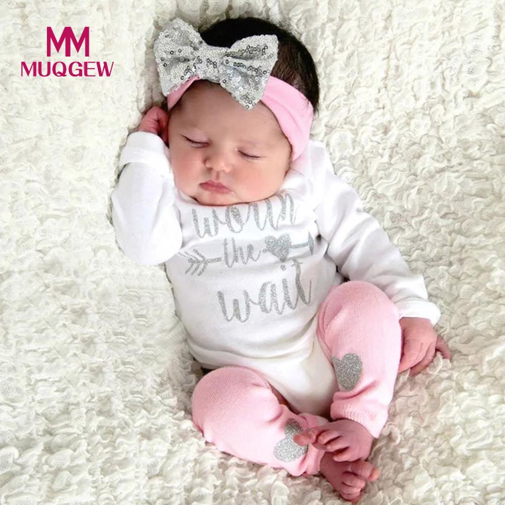 MUQGEW Baby Girls Clothing Sets Newborn Infant Baby Girls Letter Print Romper + Leg Warmer Headband Outfit Set 3pcs /PY