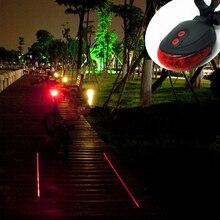7 flash mode Cycling Safety Bicycle Rear Lamp, waterproof Bike Laser Tail Light Warning Lamp Flashing (5LED+2Laser)