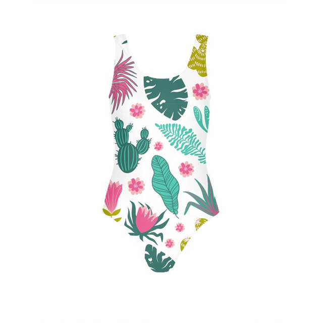 2019 New Cactus Print Women Swimsuits One Piece Family Swimwear Girls Female Bathing Suits Padded Monokini Sport Sexy Bodysuit