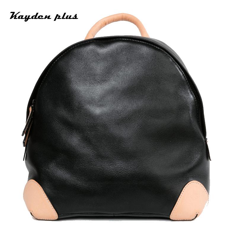 Shoulder Bag New Female Korean Genuine Leather Schoolbag College Wind Original Hit Color Layer Cowhide Backpacks Bags Trend