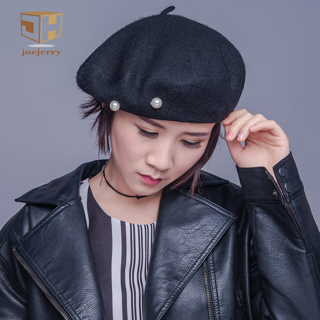 4a8e5615f91a5 joejerry Pearl Beret Women French Wool Beret Female Flat Cap Black Elegant  Hat 2018 New Arrival