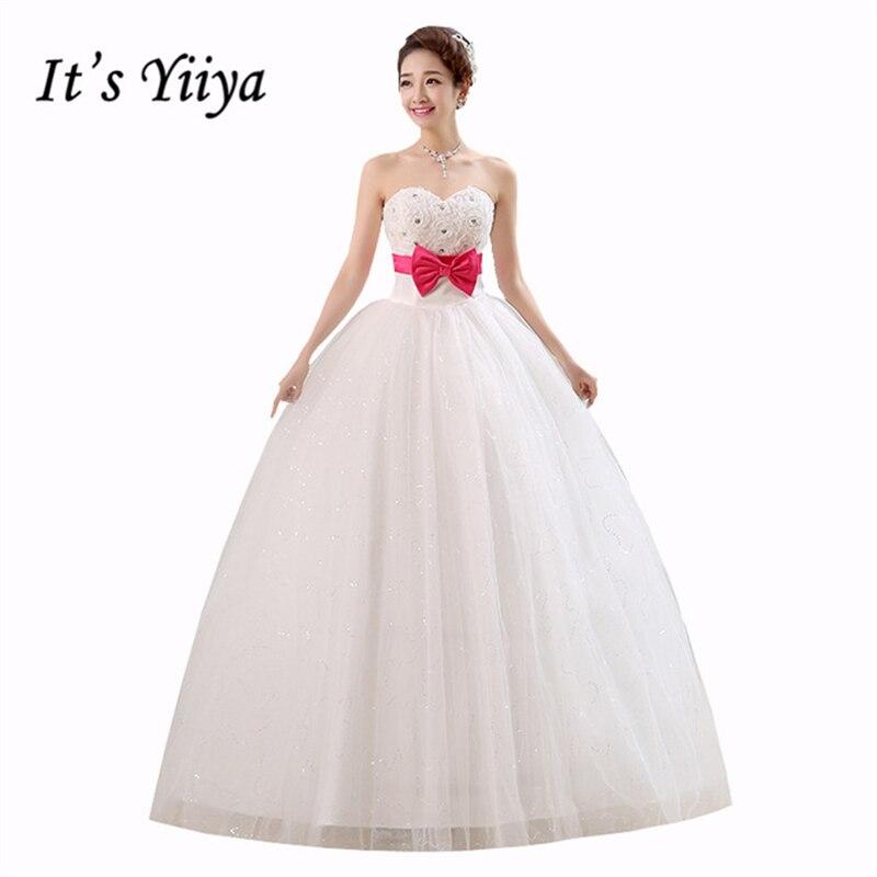 It\'s Yiiya 2018 new Sequins Rose Strapless White Wedding Dress Bow ...