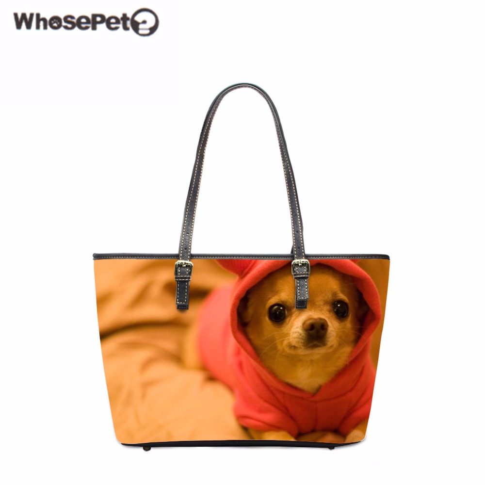 WHOSEPET Pu Women Totes Bag Cute Chihuahua Printing Shoulder Bag Animals Lady Top-Handle Bags Fashion New Arrivals Satchel Girls whosepet eiffel tower fashion ladies totes messenger bag female top handle bags women pu leather vintage bag small crossbody bag