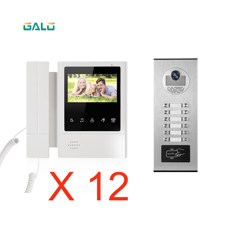 Wired Apartments 4.3'' TFT Color Video Intercom Door Phone System RFID Camera Metal With 8/10/12 Monitor For Multi Apartments
