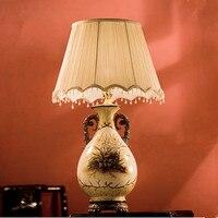 European Classical Hand Painted Ceramic Table Lamps Quaint Fabric Art E27 LED Lamp For Bookstore Bedside