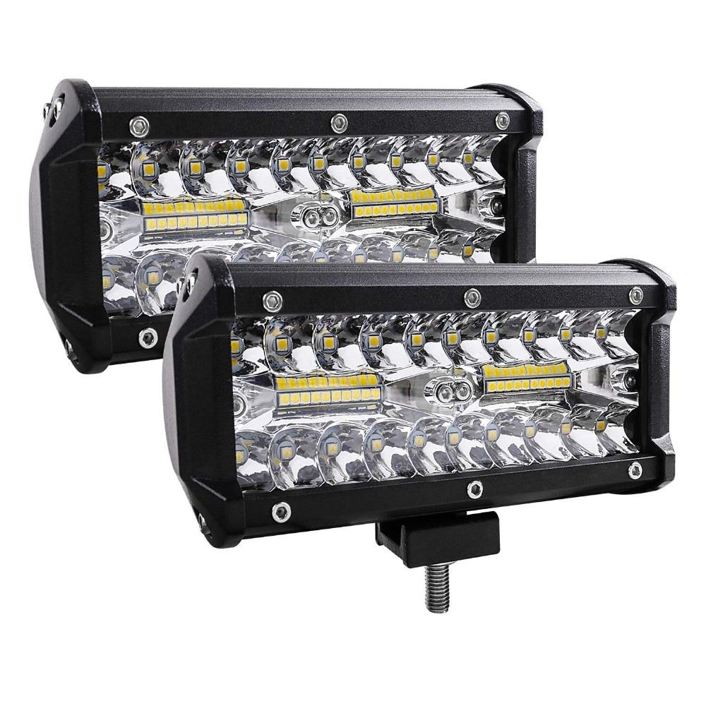 7 Inch 120W Combo Led Light Bars Spot Flood Beam 4x4 Spot 12V 24V 4WD Barra
