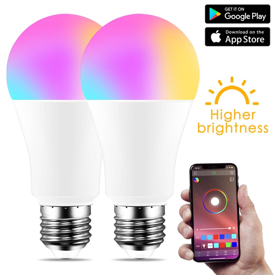 Novo sem fio bluetooth 4.0 inteligente lâmpada de iluminação para casa 10 w e27 magia rgb + w led mudança cor lâmpada regulável ios/android