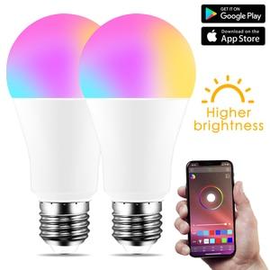 Image 1 - Nowa bezprzewodowa Bluetooth 4.0 inteligentna żarówka lampa oświetleniowa domu 10W E27 magia RGB + W LED zmień kolor żarówka ściemniania IOS /Android