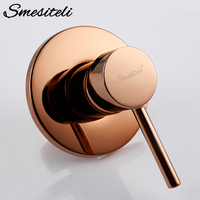 Smesiteli Bathroom Shower Trim Single Handle Concealed Shower System Control Round 1/2 Inch IPS Connector In Rose Gold Finish