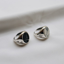 S925 Silver Ring Marble Pine Cake Made of Old Individual Opening Sugar