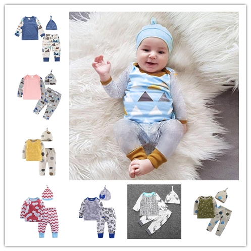 New 2018 Baby Clothing Set Fashion cartoon Pattern Patchwork Top Pants Hat Newborn Baby Boy Girl