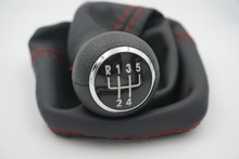 5 Speed Gear Shift Knob with  COVER GAITOR BOOT black  Base Surround With Red Line For VW Golf 3 MK3 92-98/T4 91-04/Vento 92-98/