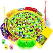 Детские игрушки для рыбалки, электрическая вращающаяся игра для рыбалки, музыкальная Рыбная тарелка, набор магнитных спортивных игрушек для детей, подарки