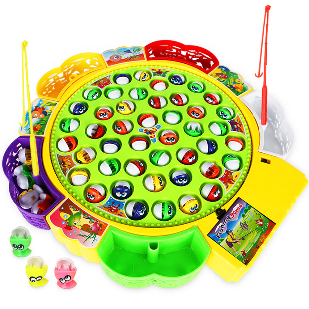 Kids Fishing Toys Electric Rotating Fishing Play Game Musical Fish Plate Set Magnetic Outdoor Sports Toys For Children Gifts