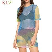 Summer Mesh Dress Women Sexy Rainbow Fishnet Sheer Casual Beach Dress  Vintage Elegant Evening Party Robe 112e4882942d