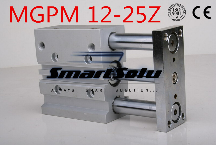 Free Shipping MGPM 12-25Z  bore 12mm stroke 25mm double acting pneumatic cylinder compact guide new type three rod air cylinders compact air cylinders double acting pneumatic air cylinder sda32 25 32mm bore 25mm stroke