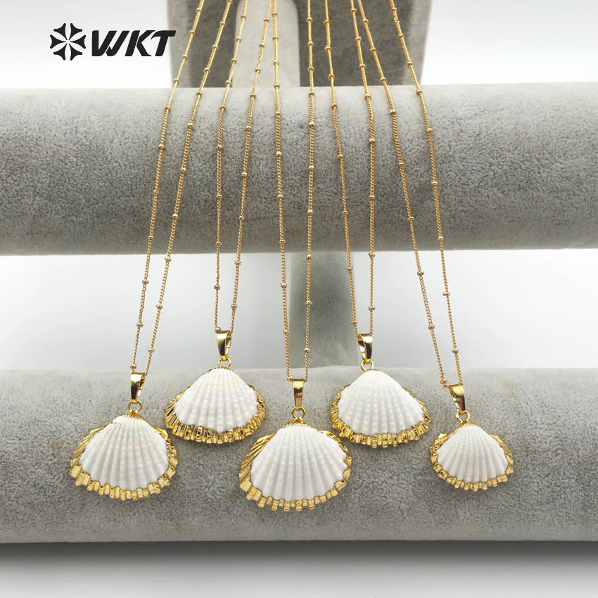 WT JN014 Wholesale Newest 24k gold trim white scallop shell necklace lovely charming white scallop shell