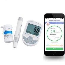 Bluetooth 4.0 Глюкозы/Холестерин 2in1 Метр монитор с ПРИЛОЖЕНИЕМ для IOS Android 10 Глюкозы Тест-Полоски + 10 поворот ланцеты