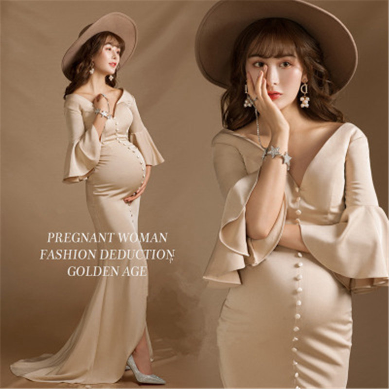 Light Beige Pregnancy Dress+hat Two-pieces Set Maternity Photography Props Mermaid Dress For Women Formal Party Wedding Clothes