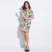 Custom Dress S-4XL Vintage Fashion Brand 2018 Summer Newest  Short Sleeve Silm Print Knee-Length Plus Size Women