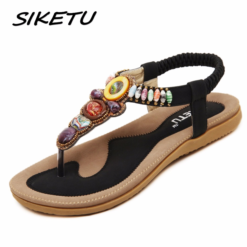 SIKETU Women Sandals Woman Summer Fashion Casual Flats Heels Bohemia String Bead Flip flop Beach Sandals Size 35-45 Black Beige summer rhinestone sequins women sandals fashion string bead chunky heels leisure open toe outwear black beige sandalia feminina
