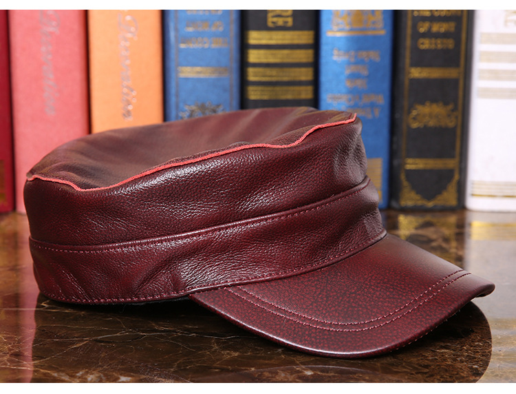 Outdoor natural leather cap (6)