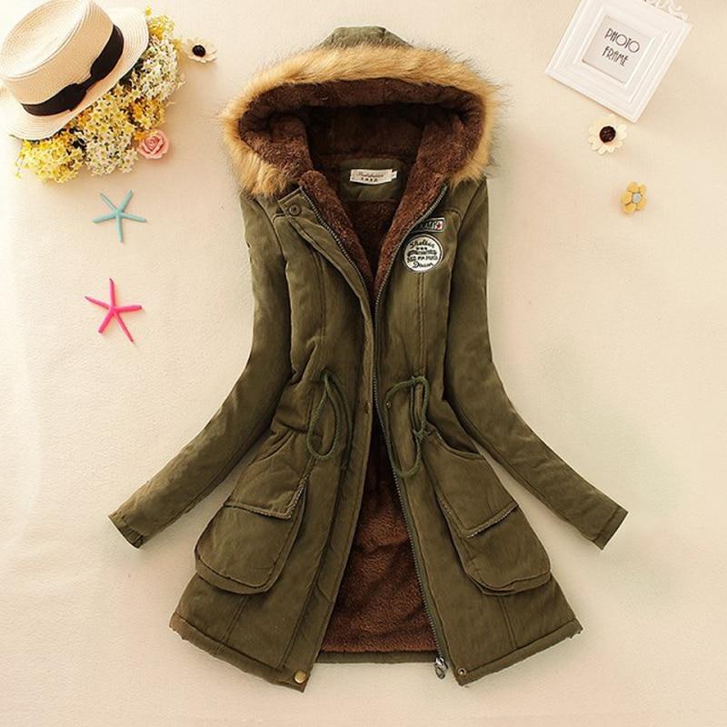 Autumn Winter Jacket Women   Parka   Warm Jackets Fur Collar Coats Long Thickening   Parkas   Hoodies Office Lady Cotton Women Winter