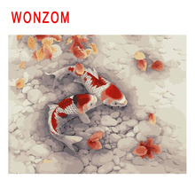 WONZOM Carp Painting By Numbers Abstract Fish Oil Lake Flower Cuadros Decoracion Acrylic Paint On Canvas Modern Art