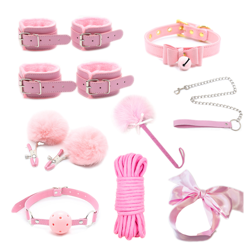 High Quality Sex Toys For Women BDSM Sex Bondage Set Handcuffs Nipple Clamps Gag Whip Rope Adult Games Sex Products For Couples