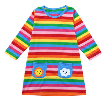 New Long Sleeve Rainbow Striped Sun Cloud Print Dress Children Clothing Kids Girls Dress Denim Kids Clothes Children Fashion
