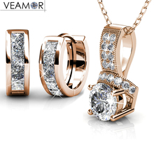 VEAMOR necklace earrings women jewelry sets rose gold color silver color hoop earring necklaces original crystals from Swarovski(China)