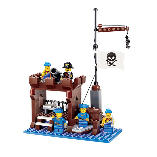 New Arrival DIY PIRATES Pirate ship Supply Depots Enlighten Brick Building Blocks Toys scale models playmobil Legoe Compatible