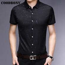 COODRONY, мужская рубашка с коротким рукавом, лето, крутая рубашка, мужская деловая Повседневная рубашка, мужская мода, звездный узор, Chemise Homme S96034