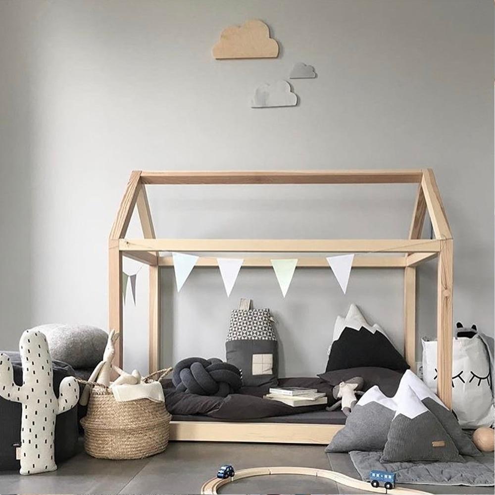 Casa de madeira natural feito à mão do quadro da cama do assoalho de montessori