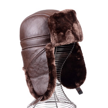 RY977 Men Winter Thick insulated Genuine Leather Warm Faux Fur Bomber Hats Male Old Dad Ear
