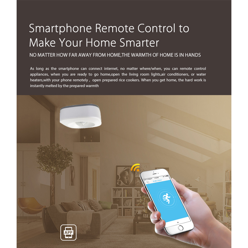 Wireless Smart Wifi Motion Sensor Detector Smart life app control compatible with alexa Home Security System
