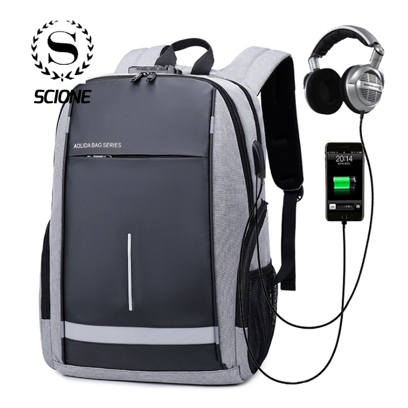 Scione Fashion Anti-theft Usb Charging Backpacks Safe Earphone Schoolbags Password Lock Laptop Casual Shoulder Bags For Men Boys