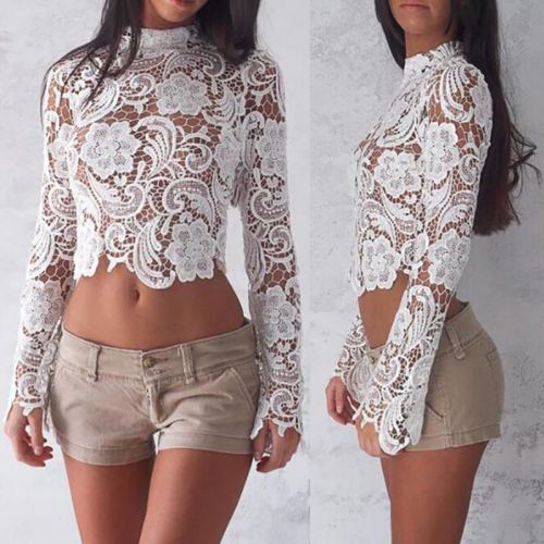 e23f27f3cb5 New Fashion Womens Floral Lace Crochet Long Sleeve Bodycon Short Summer Top  Blouse Casual Outfits Tops