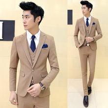 (Chaqueta + chaleco + Pantalones) alta calidad Premium bienes marca vestido  de boda del 3eda595c521