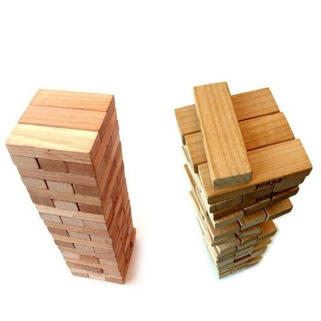 48 Pcs Wooden Tower Wood Building Blocks Toy Domino Stacker Extract