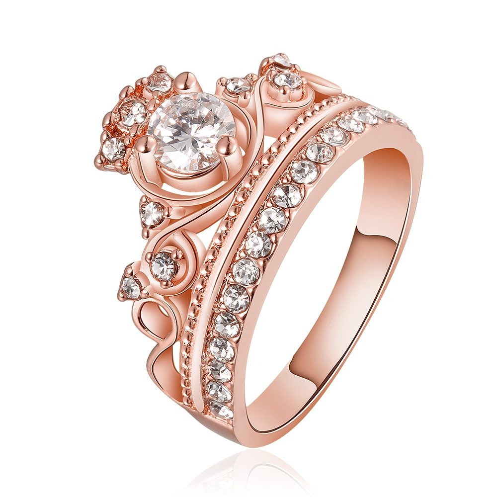 GNIMEGIL Brand Jewelry 18KGP Fashion Wedding Ring Trendy Crown Rings