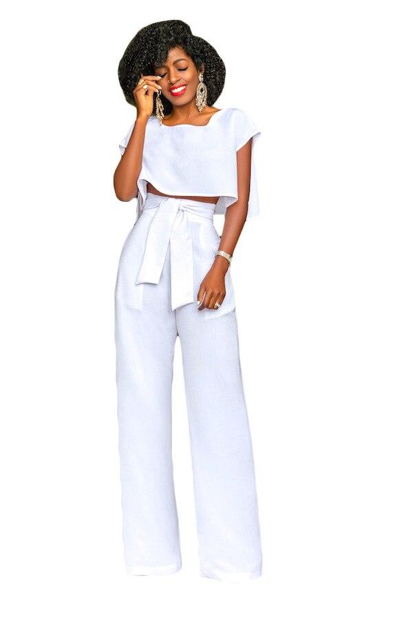 Short Sleeve Crop Top Wide Leg Playsuit Fashion High Waist Long Pant With Sashes 2 Piece Set Overalls Women Plus Size Jumpsuit