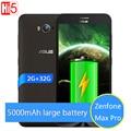 Nueva original asus zenfone max pro 5000 mah batería 2 gb 32 gb 4g lte 5.5 ''snapdragon msm8916 quad core smartphone android 5.0