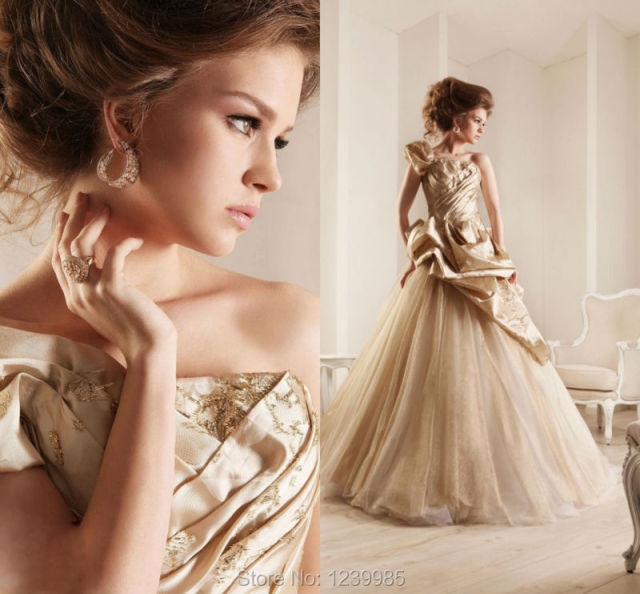 2017 Custom Made One Shoulder Vintage Wedding Dress Rami Kadi A Line Taffeta Embroidery Gold