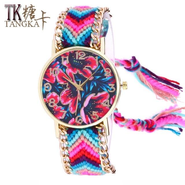 f4063d84267 Senhoras de ouro relógio de quartzo Flores dial mão de Lã weave tassel  meninas Pulseira relógios