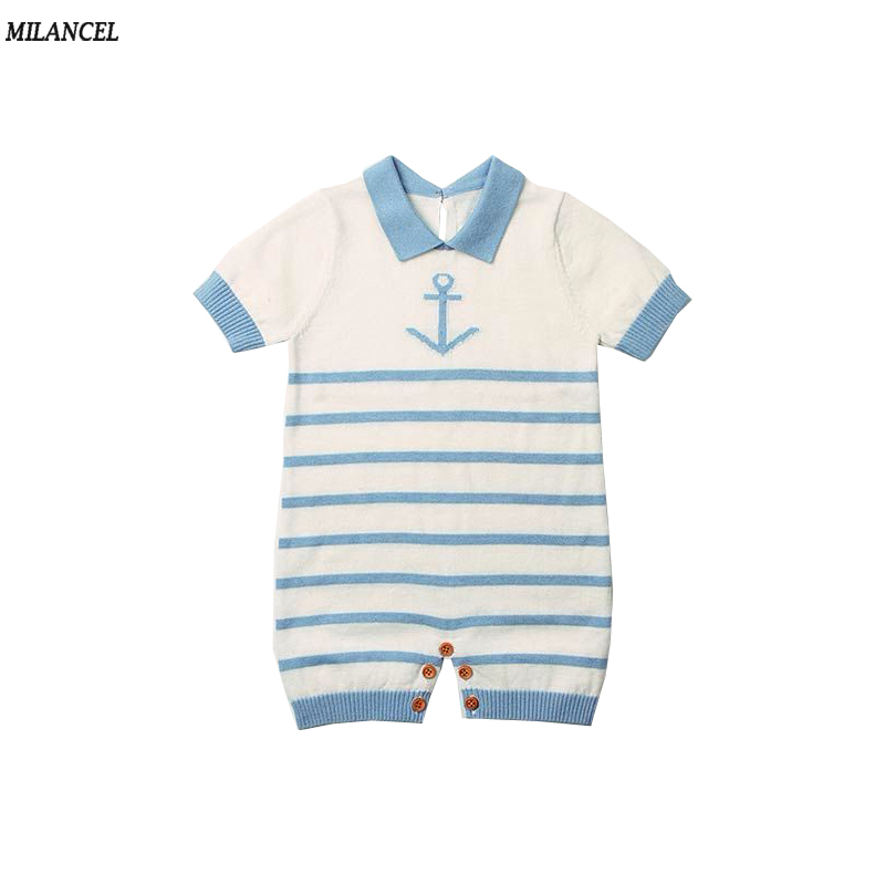6d947e95ddd8 MILANCEL 2018 New Baby Girls Rompers Knitted Infant Boys Jumpsuits Casual  Baby Boys Clothing Cute Boys Rompers Anchor Jupsuits -in Rompers from  Mother ...