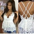 Verão Mulheres V Profundo Neck White Lace Bralette Regata Sexy Spaghetti Strapless Backless Blusa Branca Blusa