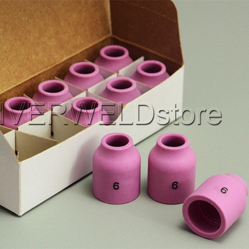 TIG Alumina Ceramic Nozzle Gas Lens 53N60 6# Fit TIG Welding Torch Accessories SR PTA DB WP 9 20 24 25 Series,10PK