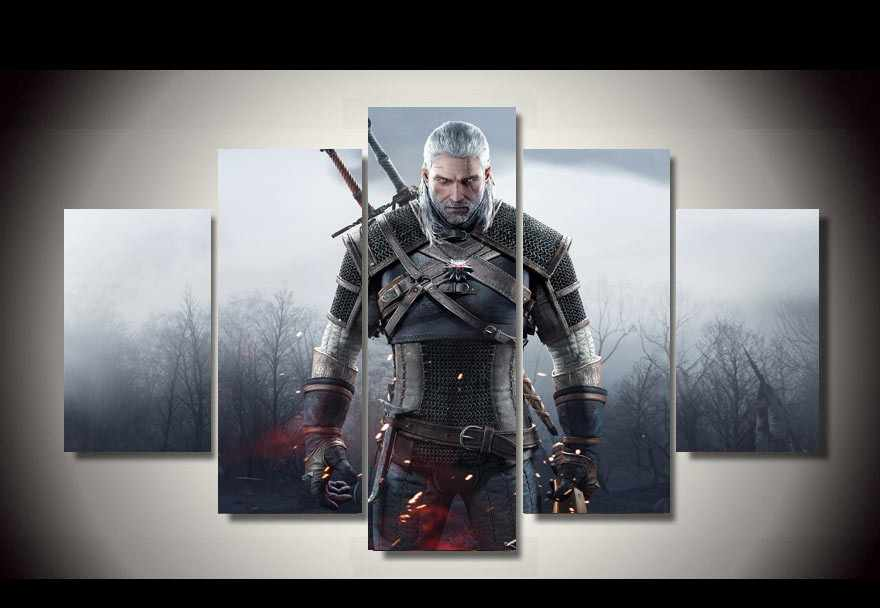 5 Piece Wall Art  Print Canvas Painting The Witcher 3 hot game  Picture Wild Hunt Wall decor  room poster canvas(No Framed)